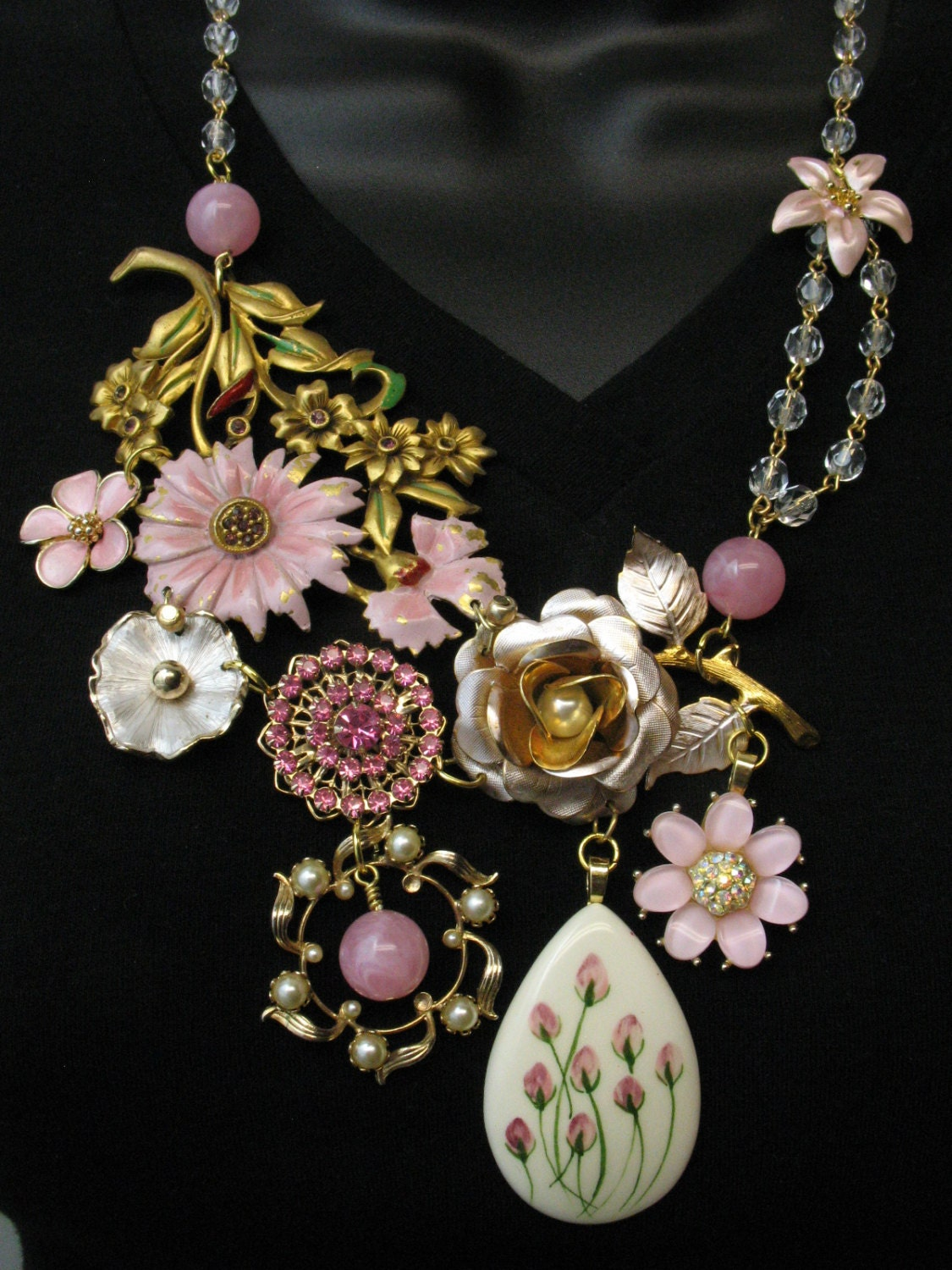 OOAK Repurposed Vintage Jewelry Couture Statement Necklace