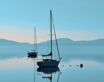 Peaceful Serene Lake Tahoe - Turquoise Sunrise Sailboat - Lake House Decor - Nature Photography - Large Wall Art -  9 x 12 Print photo