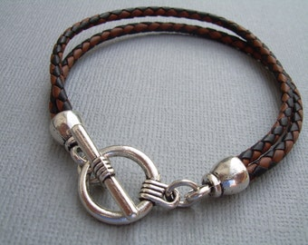 Braided Leather Bracelet with Toggle Clasp, Mens Bracelet, Mens Jewelry, Mens Gift, Leather Bracelet