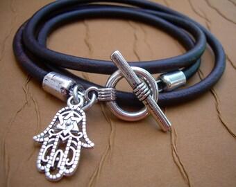 Hamsa, Leather  Bracelet, Triple Wrap,Toggle Clasp, Womens Bracelet, Mens Bracelet,  Womens Jewelry, Mens Jewelry, Leather Jewelry