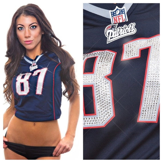 Items similar to custom swarovski crystal bling new for Patriots t shirts for women