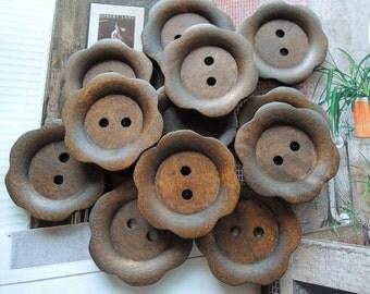 12Pcs  28mm brown flower  shape  Wood button 2 holes( W158)