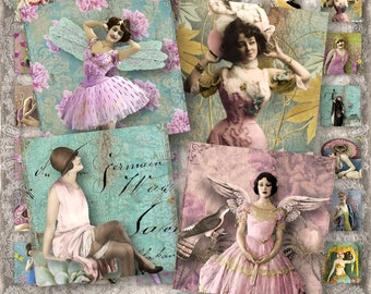 "Vintage Delight  - 1x1"" squares - bohemian ladies, fairies etc. - Digital Collage Sheet (055) - instant download"