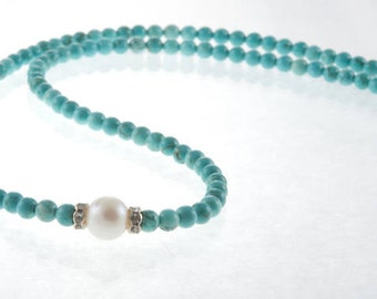 Turquoise, Pearl and Swarovski Crystal Necklace