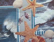 Nature picture, Seashells, Sea,  Blue, ONE Paper napkin for decoupage, cocktail size