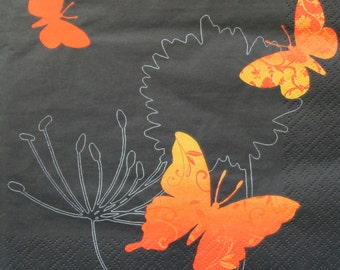 Butterflies, black, Paper napkin for decoupage