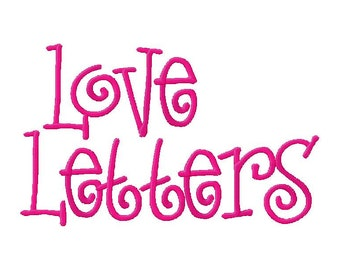 INSTANT DOWNLOAD Love Letters Machine Embroidery Font Set Includes 4 Sizes