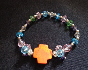 Orange Howlite Turquoise Cross Multicolored Bead Bracelet for Spring