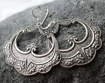 Morrocan Hoop Earrings, Arabesque Silver Dangles, Boho Earrings, Boho Jewelry, Art Deco, Boho Jewelry