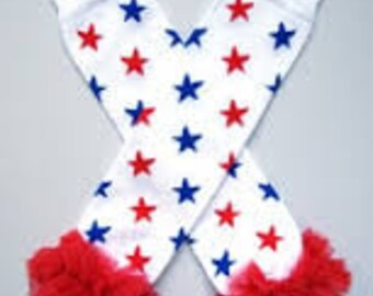 4TH of July Leg Warmers, Baby leg warmers, infant leg warmers, Red, White and Blue stars leg warmers