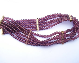 Vintage Plum Purple Glass and Rhinestone Choker Necklace