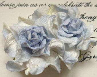 Blue& White Paper Flower Hair Clip