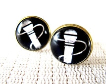 Music Cuff Links, Vintage Microphone Cuff Links, Resin Cufflinks, Mens Accessories, Unique Personalized Handmade Mens Jewelry Gift Idea