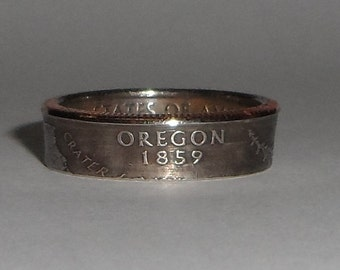 OREGON   us quarter  coin ring size  or pendant