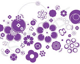 Purple Graphic Circle Floral Illustration - Clip Art - Graphics - Patterns