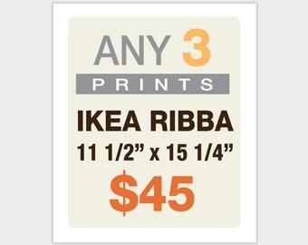 """Any THREE Prints 11 1/2"""" x 15 1/4"""" - IKEA RIBBA Frame Size"""