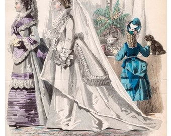 Victorian Fashion Plate Bride & Maid of Honor- Digital Image Download