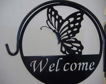 Half Butterfly Welcome Metal Plant Hanger
