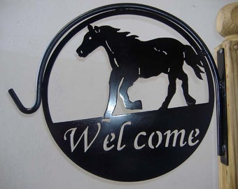 Horse Welcome Metal Plant Hanger