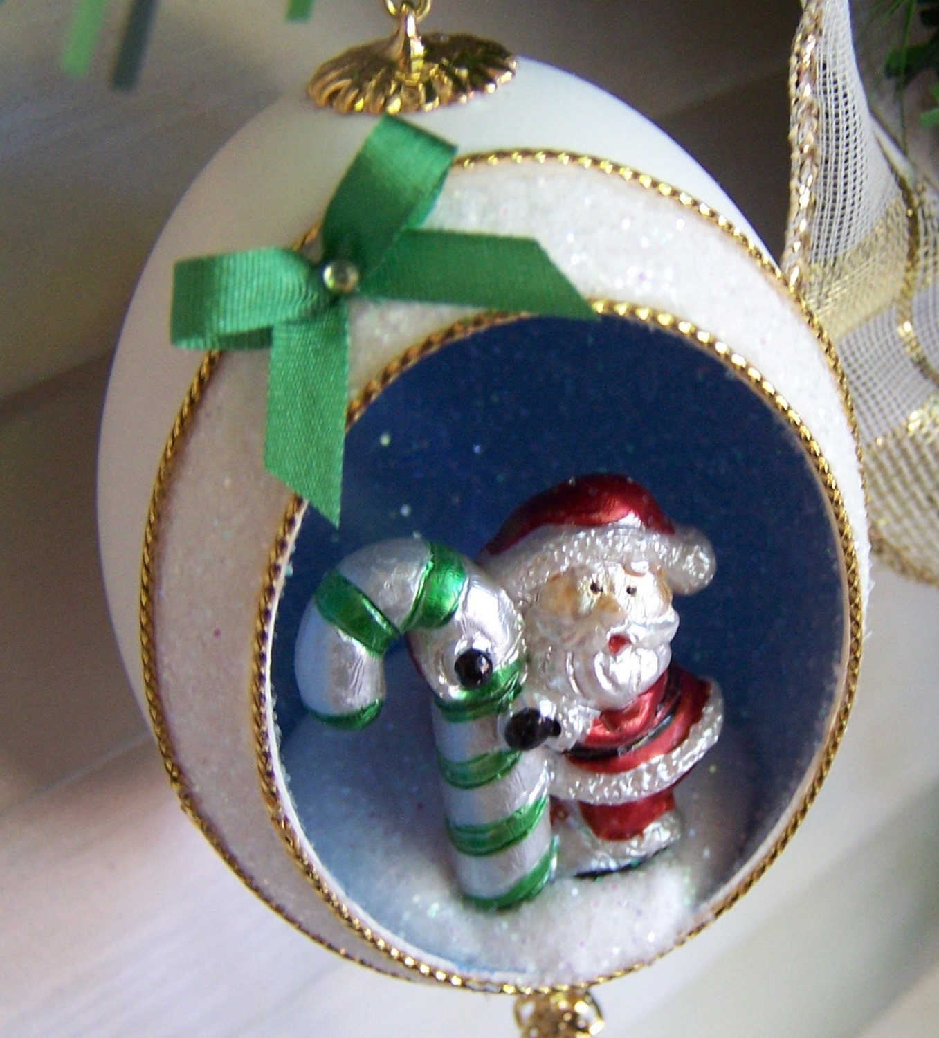 Santa Ornament Christmas Green Candy Cane Duck Egg Art