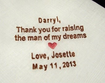 Personalized Father of the Groom Handkerchief, Man Of My Dreams Wedding Day Keepsake - Thread Born Memories