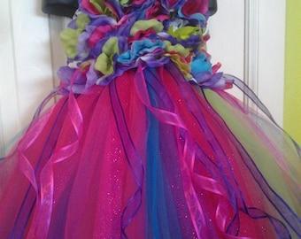 Neon Floral Vibrant Flower Girl Tutu Dress for any Princess