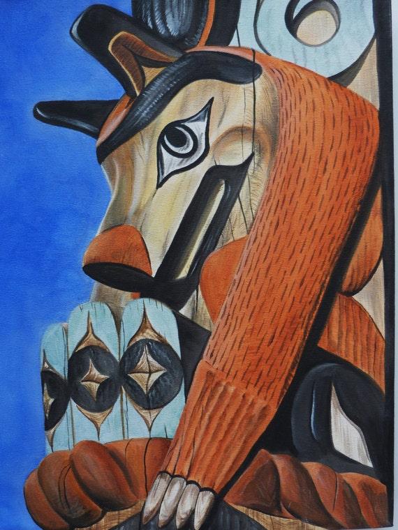 Native American Wolf Totem Pole Wolf Totem Pole Original
