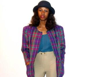 50%OFF Vintage Wool Plaid Blazer