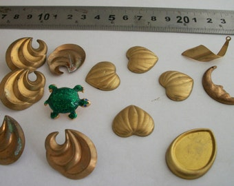 VTG brass  stampings lot , turtle , hearts , drops