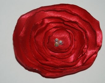 Red Satin Flower Hair Clip