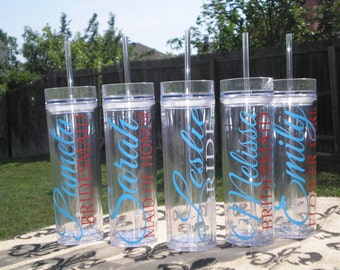 Set of 9-- Personalized Bride, Maid of Honor, Matron of Honor, Bridesmaid, and Flower Girl Acrylic Tumblers, Bridal Party Tumbler Gifts