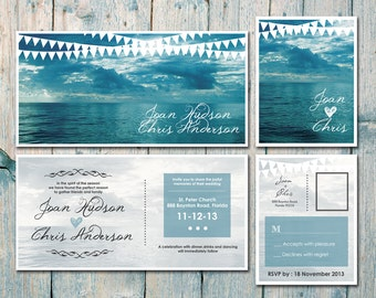 Printed Card | 50-100 Sets | Double-sided - Romantic Seascape Wedding Invitation and Reply Card Set - Wedding Stationery - ID169