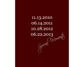 Engagement and Wedding Date, Print Anniversary Gift with Important Dates. Family Dates Print.