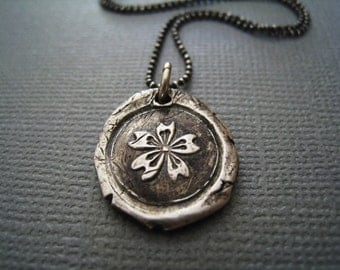 Hibiscus Flower Wax Seal Necklace
