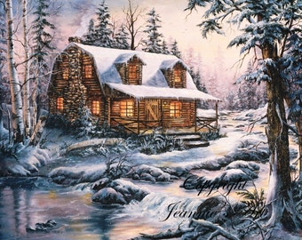Cabin in Snow print from original oil painting, double matted, 16 x 20