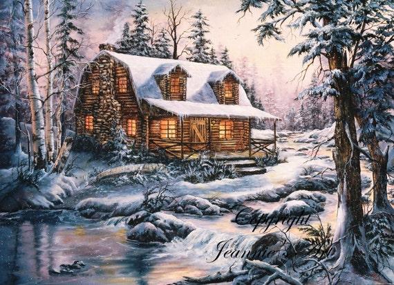 Cabaña en la nieve imprimir desde pintura al óleo por jeansart64
