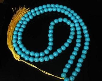 Tibet Baby Blue Turquoise Stone 10mm 108 Beads Beaded Buddhism Buddha Prayer Mala Necklace