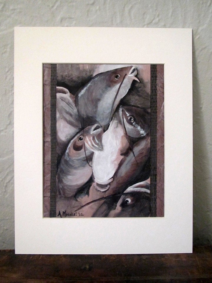 "ORIGINAL Painting ""Catfish,"" Matted, Unframed.  Animal liberation art."