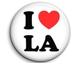 """I love heart LA - pinback button badge 1.5"""""""