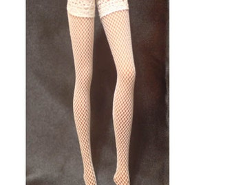 Dolls stockings for Vintage Barbie, muse barbie, silkstone barbie  White fishnet   BA022