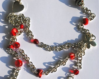 Red patchwork necklace