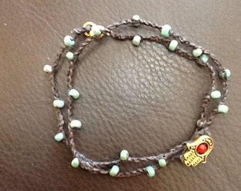 Natural Hamsa turquoise necklace or wrap bracelet