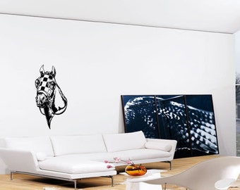 Racing Horse Head Wall Art - Vinyl Wall Art Sticker Decal - Living Room, Bedroom, Hall