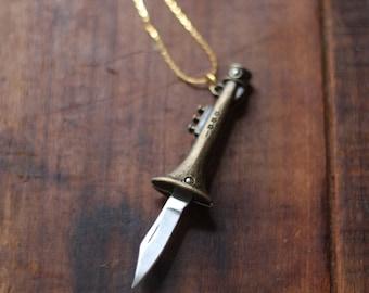 Trumpet Brass Horn Pocket Knife Necklace