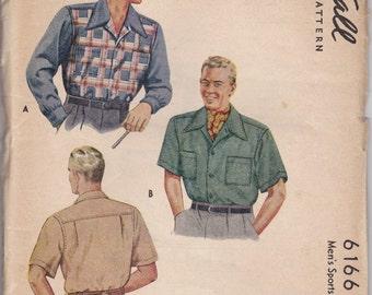 Vintage Mens Sports Shirt Pattern 1940s McCall