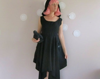 Hooded Dress with asymmetrical hem