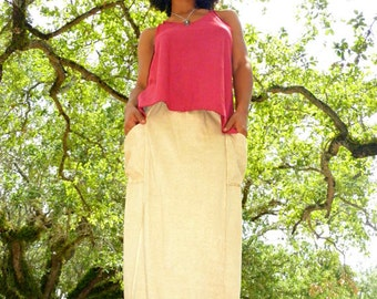The Mysore Barefoot Skirt in 100% Organic Cotton Hemp Jersey. Made to order.