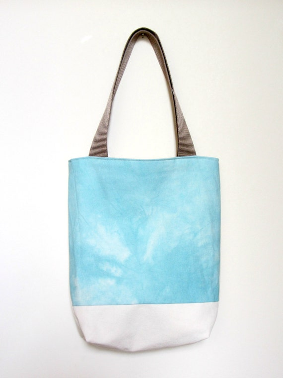 Hand Dyed Tote Bag - Aqua Blue Tie Dye with Organic Natural Canvas