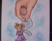 Fairy illustration, Original Illustration, Drawing, attitude drawing, humorous drawing, fantasy art, hand drawn, 5x7