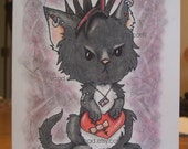 emo cat, animal, ORIGINAL drawing, animal illustration, blank note card, ready to frame
